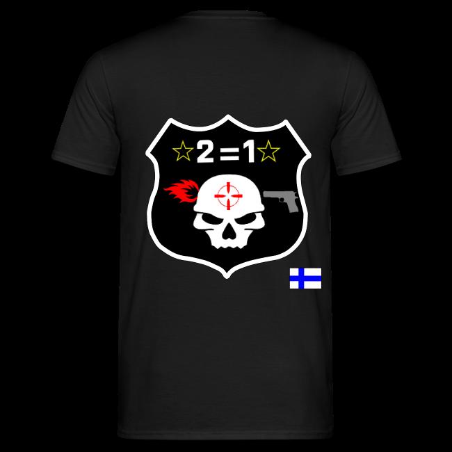 2on1 t-paita, jossa logo paidan selkäpuolella ja pelaajanimi vasemmassa hihassa