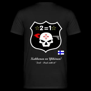 2on1 t-paita, jossa logo ja slogan paidan selkäpuolella - Miesten t-paita