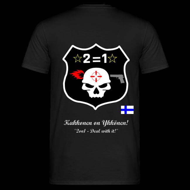 2on1 t-paita, jossa logo ja slogan paidan selkäpuolella