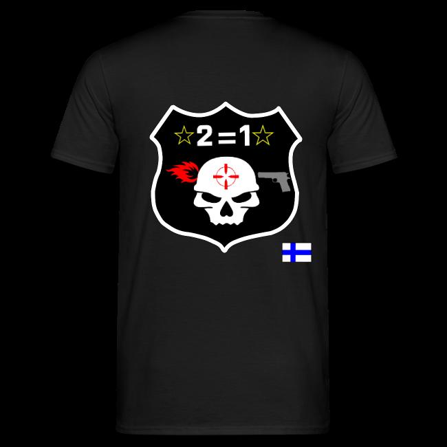 2on1 t-paita, jossa slogan paidan rintamuksessa ja logo paidan selkäpuolella!