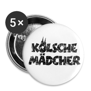 Kölsche Mädcher (Vintage Schwarz) Anstecker (32mm) - Buttons mittel 32 mm