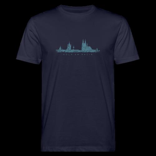 Köln am Rhein Skyline (Vintage Blau) Bio T-Shirt - Männer Bio-T-Shirt