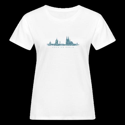 Köln am Rhein Skyline (Vintage Blau) Bio T-Shirt - Frauen Bio-T-Shirt