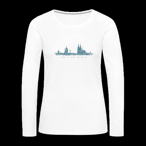 Köln am Rhein Skyline (Vintage Blau) Langarmshirt - Frauen Premium Langarmshirt