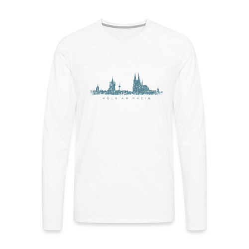 Köln am Rhein Skyline (Vintage Blau) Langarmshirt - Männer Premium Langarmshirt