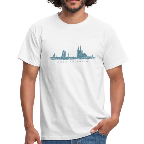 Köln am Rhein Skyline (Vintage Blau) T-Shirt - Männer T-Shirt