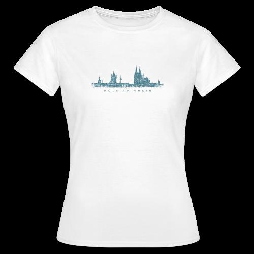 Köln am Rhein Skyline (Vintage Blau) T-Shirt - Frauen T-Shirt