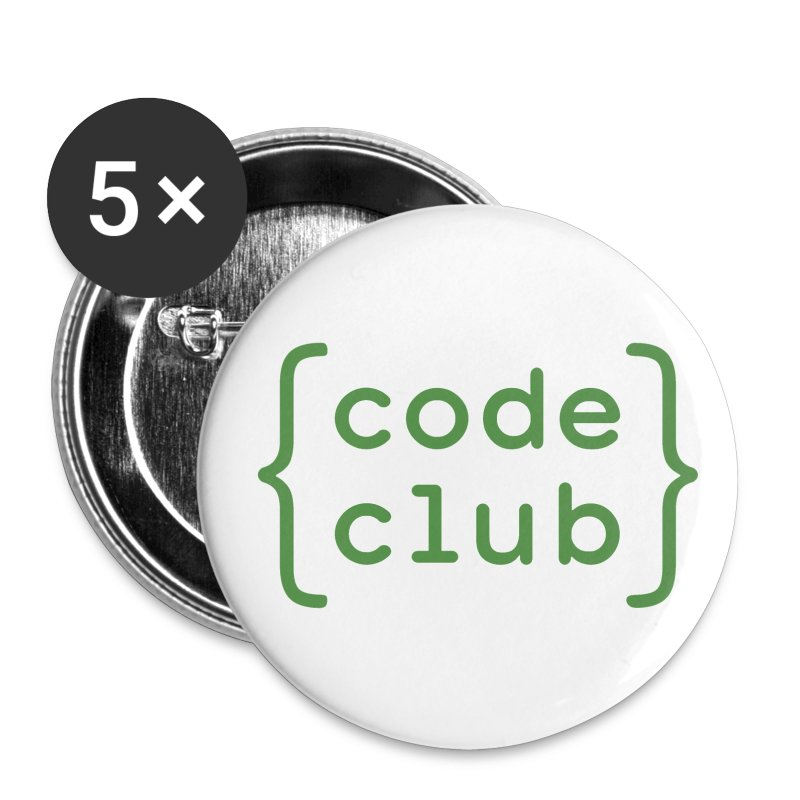 Code Club white badge - Buttons small 25 mm