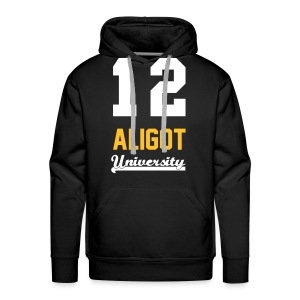 Sweat shirt homme 12 Aligot University H marquage jaune  blanc - Sweat-shirt à capuche Premium pour hommes