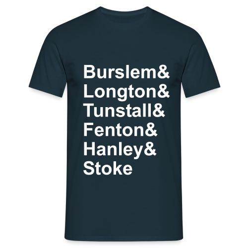 Six Towns List. Navy-White. Men's T - Men's T-Shirt