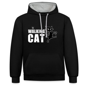The Walking Cat - Kuschelig warmer Damen-Hoodie - Kontrast-Hoodie