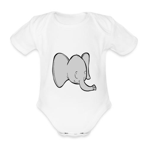 Body bébé : Alphonse l'éléphant (gris) - Body bébé bio manches courtes