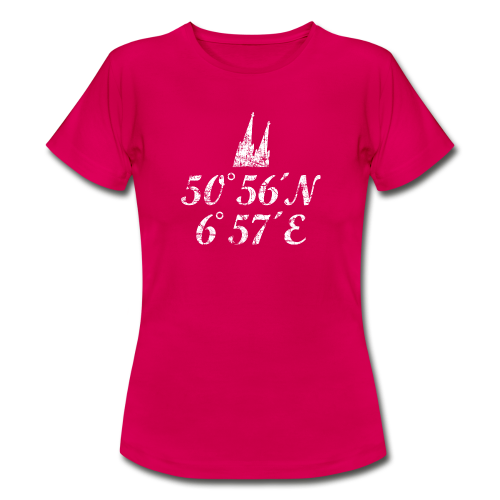 Kölner Dom Koordinaten (Vintage/Weiß) Köln T-Shirt - Frauen T-Shirt