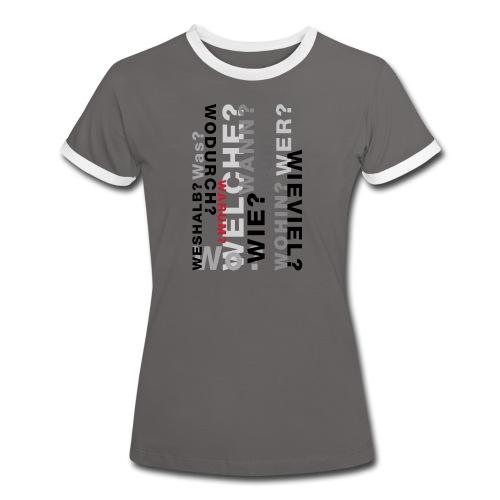 FRAGEN IM RAUM - Frauen Kontrast-T-Shirt