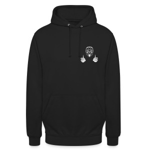 middle finger skull with helmet - Unisex Hoodie