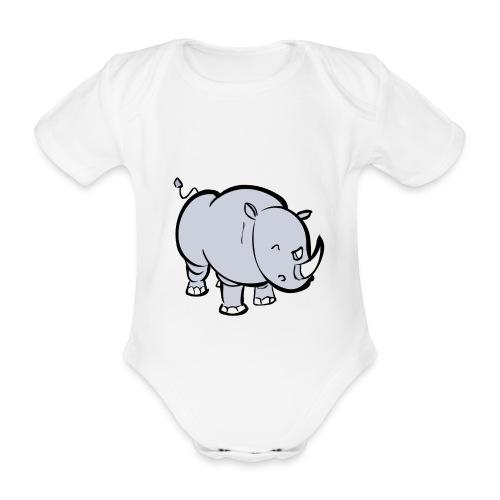 Body bébé : Rino le rhinoceros (gris) - Body bébé bio manches courtes