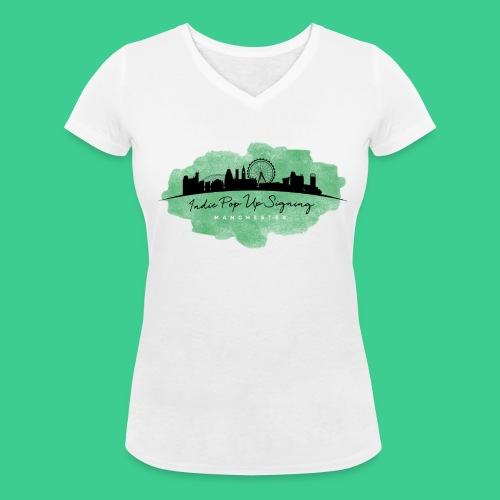 Indie Pop Up Signing V-neck T-shrt - Women's Organic V-Neck T-Shirt by Stanley & Stella