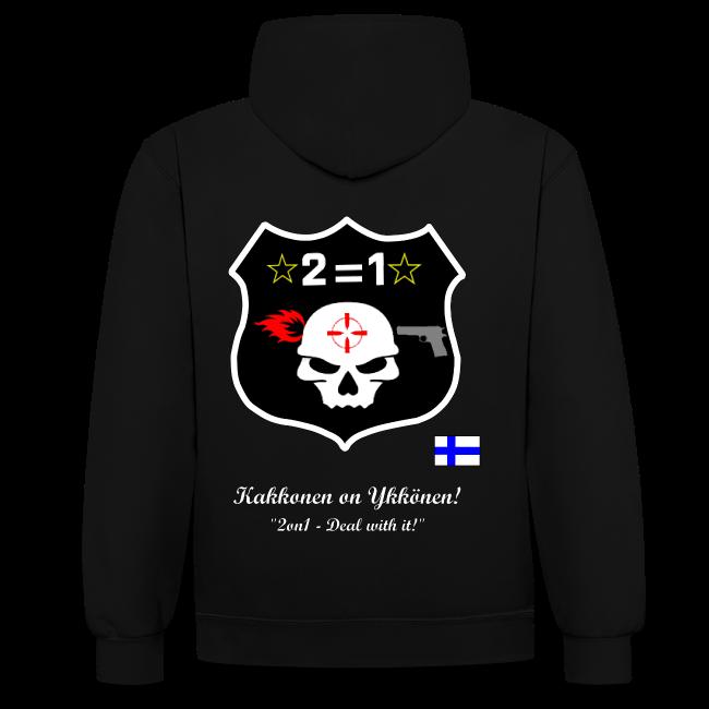 2on1 huppari, jossa logo ja slogan paidan selkäpuolella, sekä pelaajanimi vasemmassa hihassa