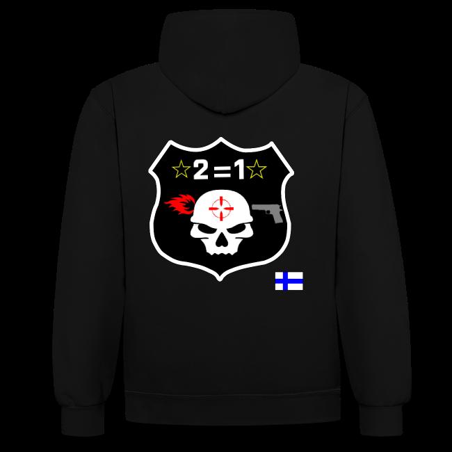 2on1 huppari, jossa slogan paidan rintamuksessa, logo paidan selkäpuolella, sekä pelaajanimi vasemmassa hihassa!