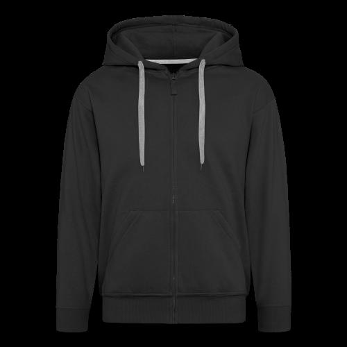 2on1 huppari, jossa logo ja slogan paidan selkäpuolella. (Vetoketju musta)  - Miesten premium vetoketjullinen huppari