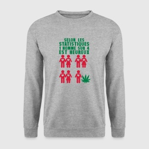 statistique 1 homme 4 heureux cannabis Sweat-shirts - Sweat-shirt Homme