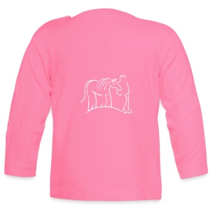 Front: Big Snowflake, Back: Walking Together Kids Longsleeve ( Print: Digital, Pink,White) - Baby Langarmshirt