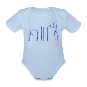 Funky Horses Baby Body ( Print: Blue) - Baby Bio-Kurzarm-Body