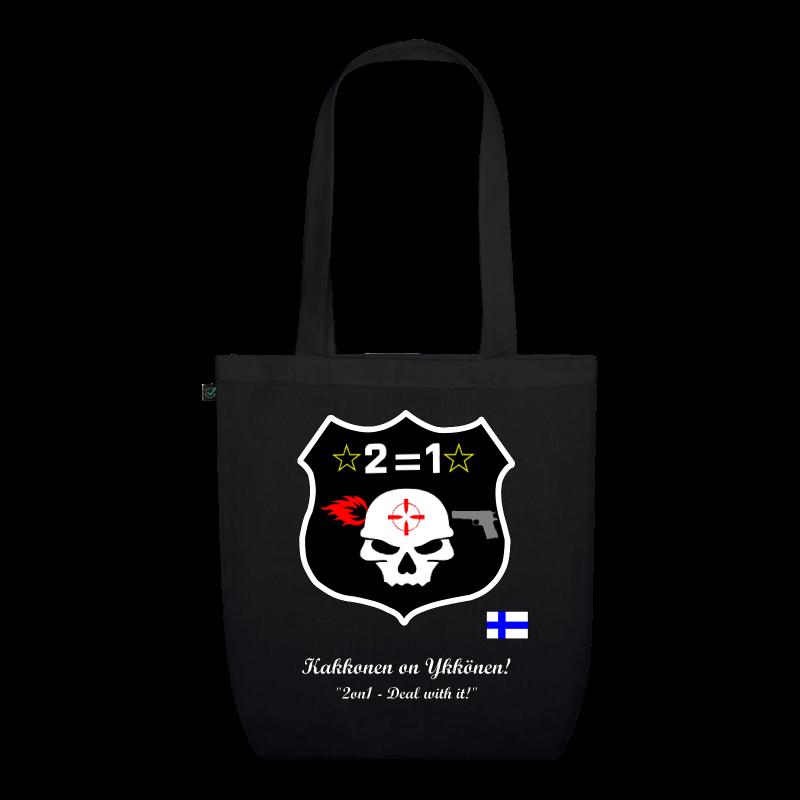 2on1 Kangaskassi klaanin logolla ja sloganilla - Luomu-kangaskassi