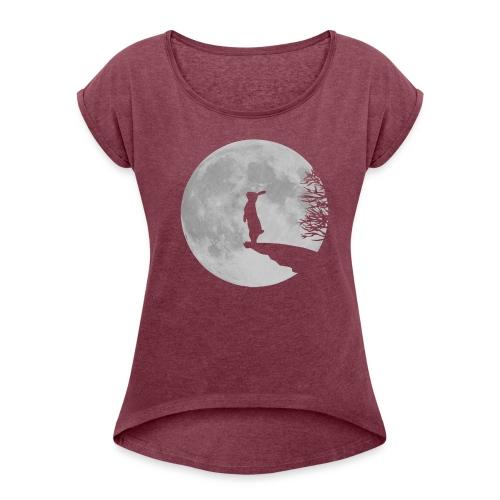 Bunny Moon - Frauen T-Shirt mit gerollten Ärmeln