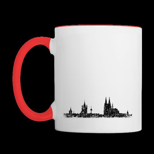 Köln Skyline (Vintage Schwarz) Tasse - Tasse zweifarbig