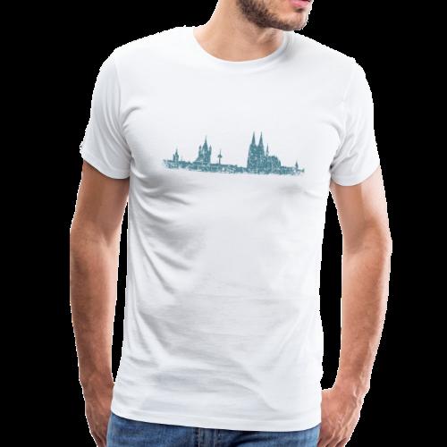 Köln Skyline (Vintage Blau) Kölner Stadtansicht Panorama - Männer Premium T-Shirt