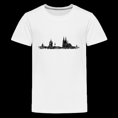 Köln Skyline (Vintage Schwarz) Teenager T-Shirt - Teenager Premium T-Shirt