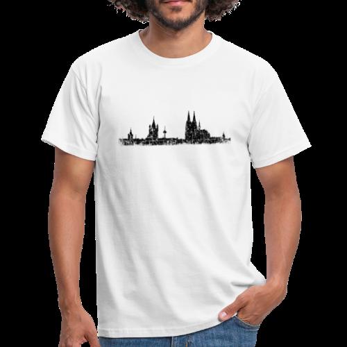 Kölner Skyline (Vintage Schwarz) Köln Panorama Stadtansicht - Männer T-Shirt