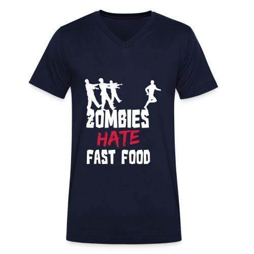 Zombies Hate Fast Food - Männer Bio-T-Shirt mit V-Ausschnitt von Stanley & Stella