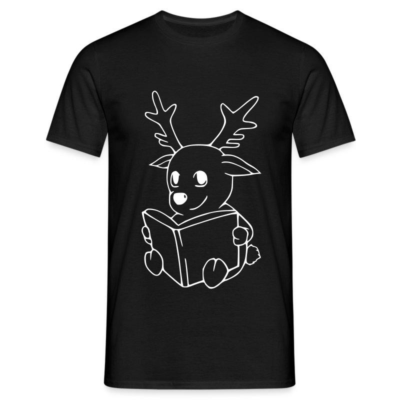 Motiv: Rentier mit Buch | Druck: weiß | verschiedene Farben - Männer T-Shirt