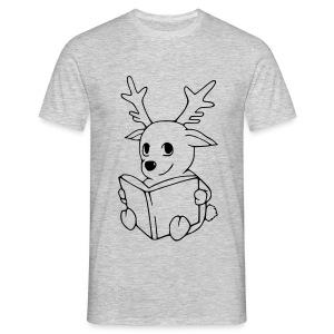 Motiv: Rentier mit Buch | Druck: schwarz | verschiedene Farben - Männer T-Shirt