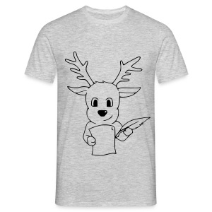 Motiv: Rentier mit Wunschzettel | Druck: schwarz | verschiedene Farben - Männer T-Shirt