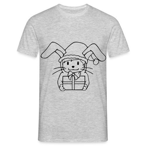 Motiv: Plotbunny mit Geschenk | Druck: schwarz | verschiedene Farben - Männer T-Shirt