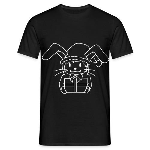 Motiv: Plotbunny mit Geschenk | Druck: weiß | verschiedene Farben - Männer T-Shirt