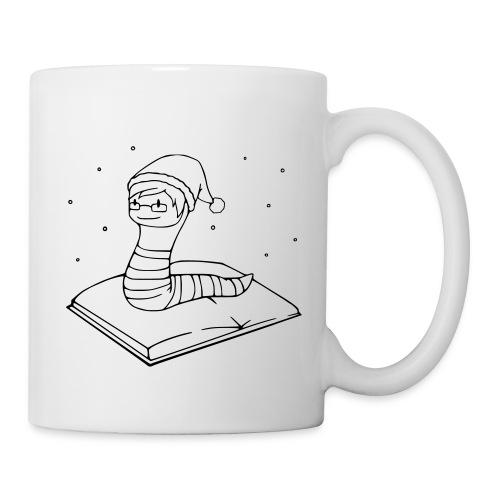 Motiv: Bücherwurm (Weihnachten) - Tasse