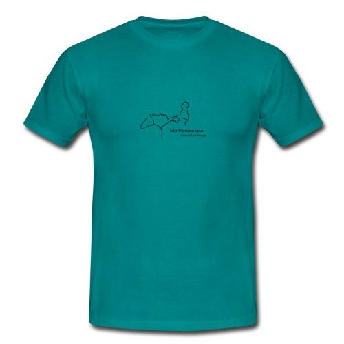 Mit Pferden sein-Reiter, Men´s Shirt ( Print:Digital Black) - Männer T-Shirt
