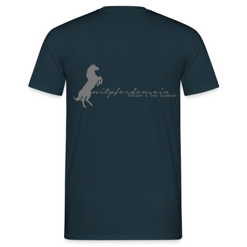 Front: Mit Pferden sein-Reiter small, Back: RU Font, Men´s Shirt ( Print:Grey) - Männer T-Shirt