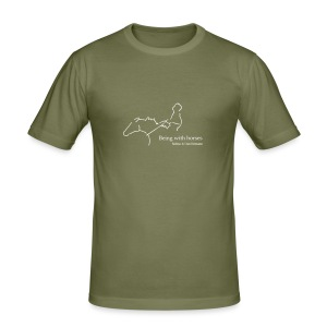 Being With Horses-Rider, Men´s Slim Fit Shirt ( Print:Digital White) - Männer Slim Fit T-Shirt