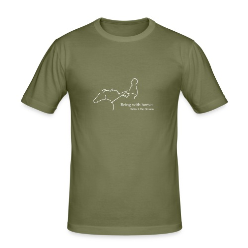 Being With Horses-Rider, Men´s Slim Fit Shirt ( Print:Digital White) - Männer Slim Fit T-Shirt
