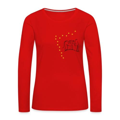 Walking Together & Stars Women Longsleeve (Print: Black & Yellow) - Frauen Premium Langarmshirt