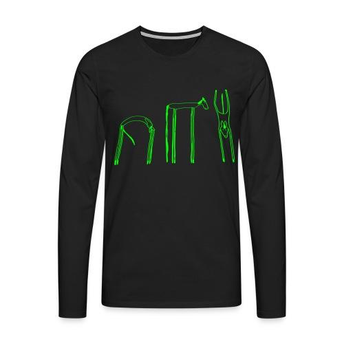 Funky-Horses , Men Longsleeve  ( Print: Neon Green) - Männer Premium Langarmshirt