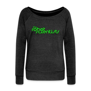 Female Neon Green Robot Scientists Logo Bella Pullover Heather Black - Women's Boat Neck Long Sleeve Top