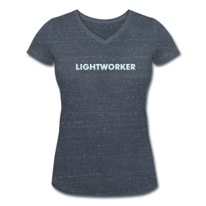 Female Von Herzen Lightworker Reflecting Organic V-Neck T-Shirt Grey Heather - Women's Organic V-Neck T-Shirt by Stanley & Stella