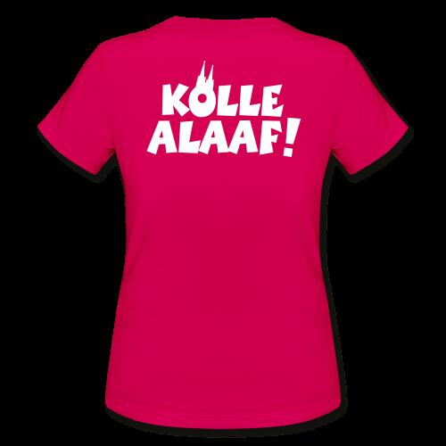 Kölle Alaaf mit Dom (Weiß) Damen T-Shirt Rückenaufdruck - Frauen T-Shirt