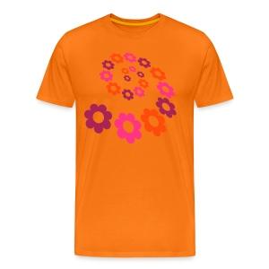 Front Flower Power, Back:Groundwork, Men Shirt for Women ( 3 XL) ( Print : Neonorange) - Männer Premium T-Shirt